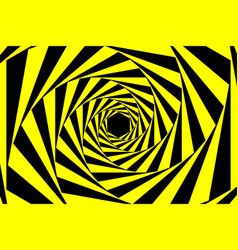 black yellow warning spiral tunnel abstract vector image