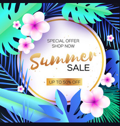 blue tropical summer salepalm leaves plants vector image