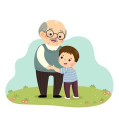 Boy hugging his grandfather vector
