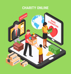 charity online isometric composition vector image