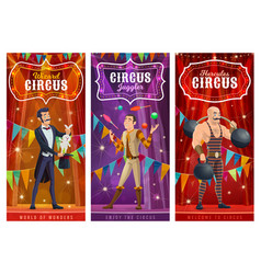 Circus performers banners big top artists vector