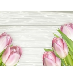 Colorful tulips on wooden table EPS 10 vector image