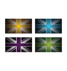 colourful uk flags vector image
