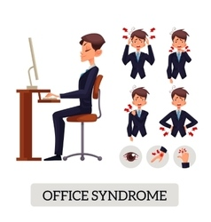 Concept of office syndrome Male vector