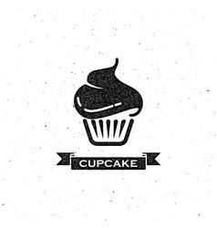 cupcake and vintage ribbon vector image