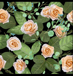 dark navy floral pattern roses and leaves with vector image