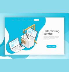Data sharing service isometric flat landing vector