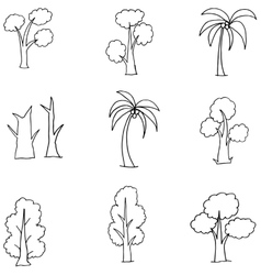 Doodle of many tree various collection vector