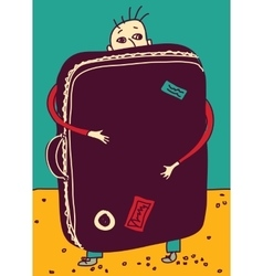 Emigration or travel man with suitcase color vector image