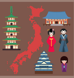 flat colored symbols japan travel and vector image
