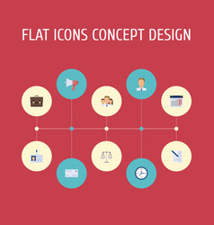 flat icons portfolio calendar libra and other vector image