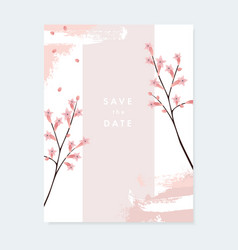 Floral wedding invitation greeting card with pale vector