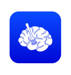 Fork is inserted into the brain icon digital blue vector