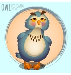 Funny blue owl cartoon series vector image