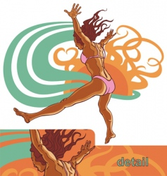 girl jump into the water vector image