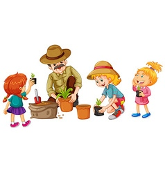 Girls and father planting tree vector
