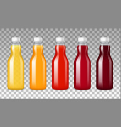 Glass bottles with juice vector