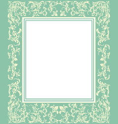 green frame with vintage ornament vector image