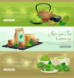 green matcha tea horizontal banners vector image