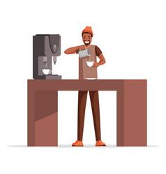 Guy making coffee flat vector