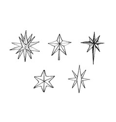 hand drawn sketch collection of moravian stars or vector image