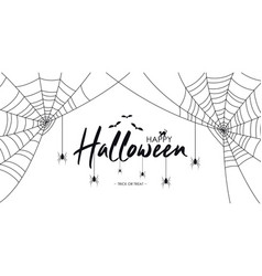 happy halloween text banner with spiders and web vector image