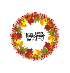 happy thanksgiving day greeting lettering phrase vector image