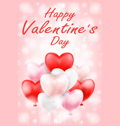 happy valentines day with pink red white balloons vector image