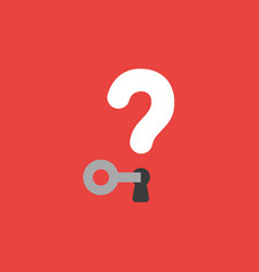 icon concept of key unlock question mark with vector image