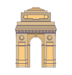 Indian gateway emblem building symbol isolated vector