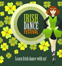 Irish dance festival template in cartoon style vector