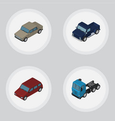 Isometric automobile set of car auto suv and vector