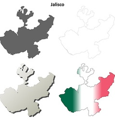 Jalisco blank outline map set vector