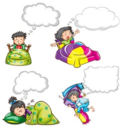 Kids in bed and dream clouds vector