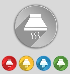 Kitchen hood icon sign Symbol on five flat buttons vector image