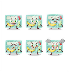 Lunch box cartoon character with various angry vector