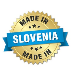 Made in slovenia gold badge with blue ribbon vector