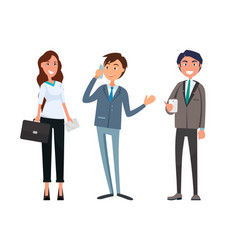 man meeting with businesswoman and businessman vector image