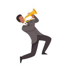 Man playing french horn male jazz musician vector