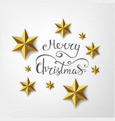Merry christmas inscription with golden stars vector