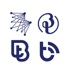 modern professional monogram set bt technology vector image