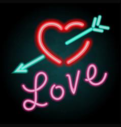 neon light design for word love vector image