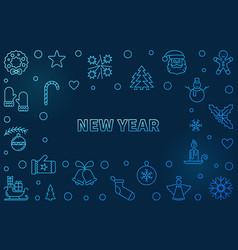 new year blue horizontal background vector image