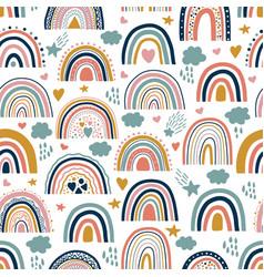 Nice baby neutral bohemian rainbows seamless vector