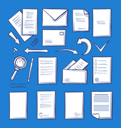 office paper and magnifying glass isolated vector image
