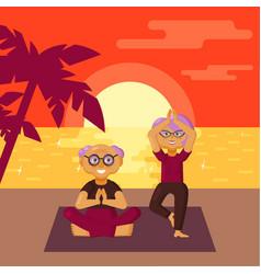 older couple racticing yoga exercises on beach vector image