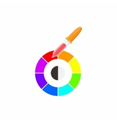 Palette of paint samples with pipette icon vector image