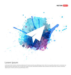 Paper airplane icon - watercolor background vector