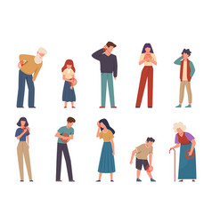 People with pain men and women suffering vector