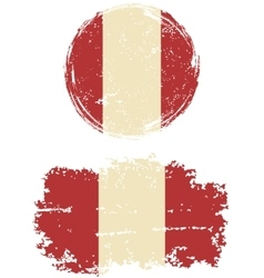 Peruvian round and square grunge flags vector